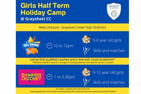 Girls Cricket Half Term Holiday Camp
